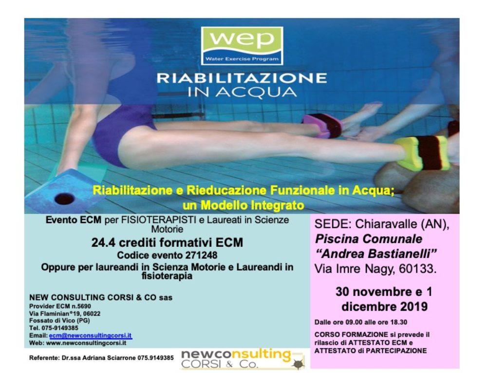 Riabilitazione e rieducazione funzionale in acqua – Corso ECM 24 crediti